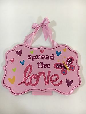 Love Wall Decor Small Wood Sign Girls Room Hearts Butterfly's