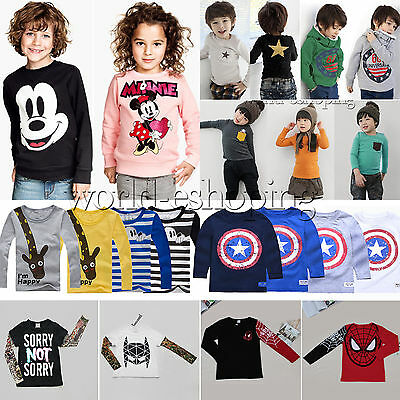 Kids Baby Boys Girls Long Sleeve T-shirts Jumper Tops Casual Hoodies Sweatshirt