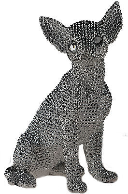 Stunning Silver Diamante Bling 27 cm Art Figurine - Chihuahua Dog Ornament