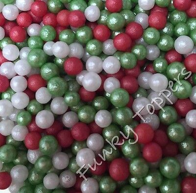 60g CHRISTMAS Edible Sugar Pearls Cupcake Cake Sprinkles Toppers 4mm