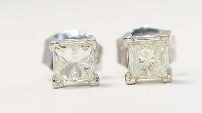 14k White Gold Princess Cut Solitaire Stud Earrings