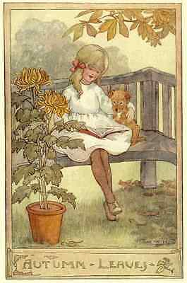 Children's Postcard: Little Girl Outside Reading a Book to Dog - Autumn Leaves