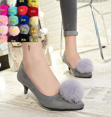 Fashion Winter Ladies Boots Pom Ball Faux Rabbit Fur Shoe Clips Pair