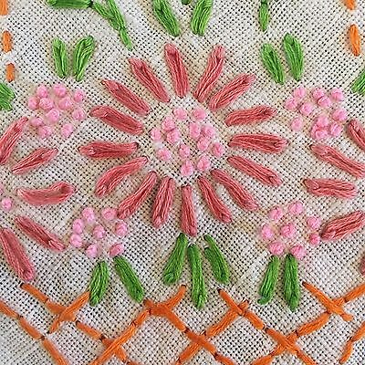 Vintage Tablecloth Embroidered Basket Flowers Pink Salmon Cream Linen 30 x 34