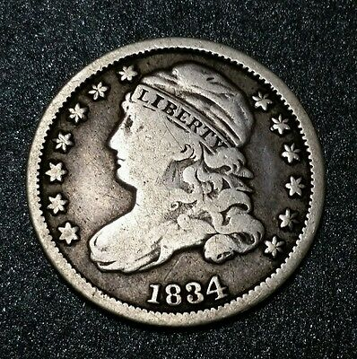 "1834 USA Early Capped Bust ""Large 4"" Dime 10C Ten Cent Silver Coin"