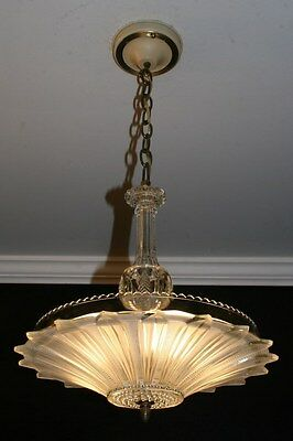 Antique original frosted glass sunflower art deco light fixture chandelier