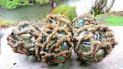 "Japanese Fishing Floats FIVE 3+"" Aqua Blue Green ROUGH STOCK NET Ocean Vintage"