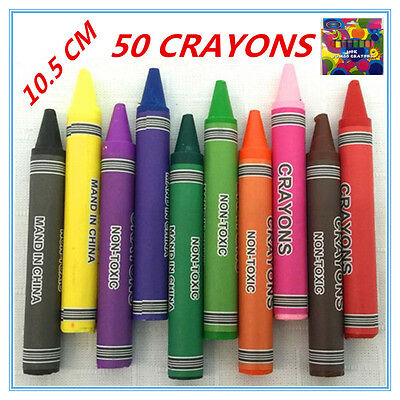 50 X Jumbo Size Extra Thick Crayon Crayons Assorted Colors Kid Craft Gift Draw F