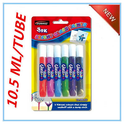 6 Pack Glass Paint 6 Assorted Colours Colors Paint In Tubes Kid Craft Painting