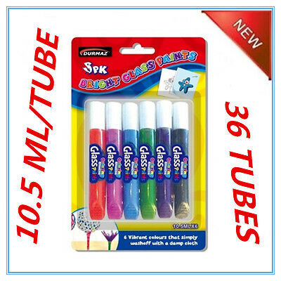 36 Pack Glass Paint 6 Assorted Colours Colors Paint In Tubes Kid Craft Fw