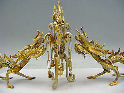 a pair Wonderful China Old Peking glass Carved Two dragons with a pearl Statues