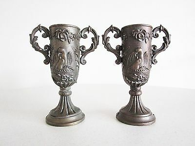 Vintage Bronze Italian Wedding Cups Love Birds Ornate Serving Cups Antique