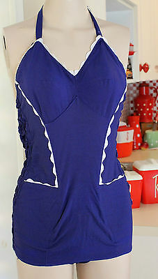 1950s Navy Rayon Shirred Swimsuit Size 4 6 8 10 Bathers Swimmers White