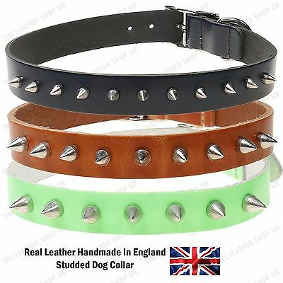 Small Cone Studded Pet Dog Puppy Collar Adjustable Extra Strong Leather Handmade