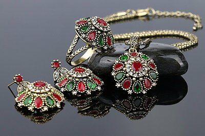 Vintage Jewelry Crystal Flower Necklace Sets Fashion Earing Turkish 3Pc Nigerian