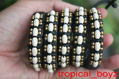5 Brass White Oval Artificial Stone Slip-knotted Leather Bracelets Wholesale