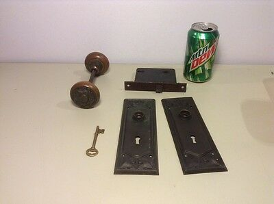 Antique Brass Bronze Door Hardware, Knobs Lock Plates Key