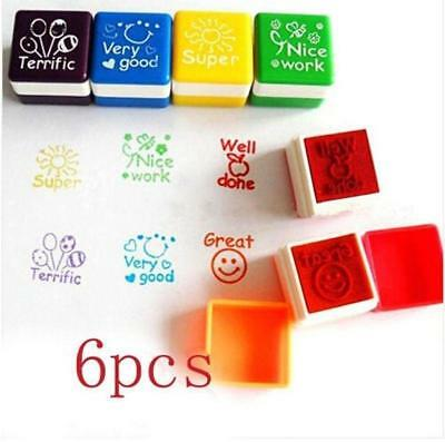 Pop 6pcs Teacher Stamper Self Inking Praise Reward Stamps Motivation Sticker LIN