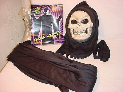 Grim Reaper Adult Costume Fits up to 200 lbs Robe Mask Belt Halloween