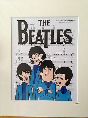 The Beatles - 1965 Cartoon - Hand Drawn & Hand Painted Cel