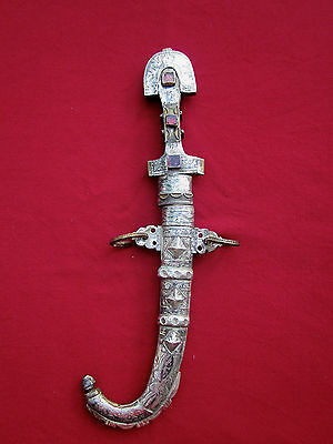 Antique Moroccan Silver/brass/niello/enamel & Glass Islamic Dagger / Goumia