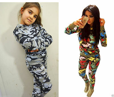 Girls Kids Camouflage Lounge Suit Jogging Tracksuit Multicoloured outfits UK5-13
