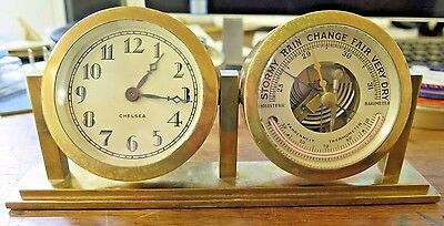 EARLY ANTIQUE Chelsea Ships Clock & Barometer IN ORIGINAL STAND