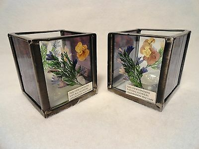 Pair of International Silver Co. LEADED GLASS candle holders with Real Flowers!