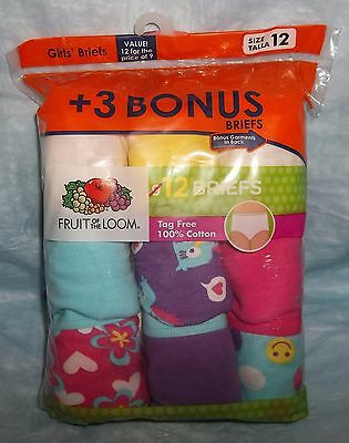 Fruit Of The Loom 12 Pack Girls Cotton Panties Size 12