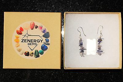 CHARGED Iolite Crystal Chip Earrings REIKI Energy! ZENERGY GEMS™