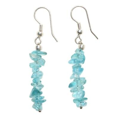 CHARGED Blue Apatite Crystal Chip Earrings REIKI Energy! ZENERGY GEMS™