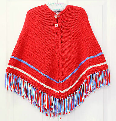 Red White Blue Cape Knit Childrens Fringed Poncho Wool 4 5 6 7 Girls Vintage 70s