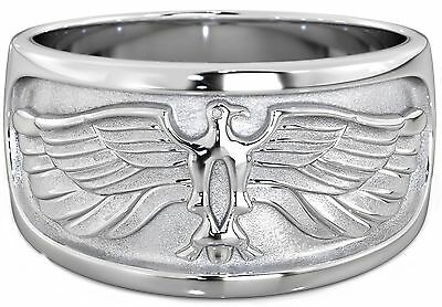 New Boxed Heavy Mens 925 Sterling Silver Eagle Wedding Ring 11mm
