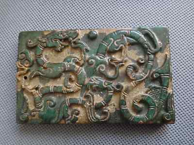Old Chinese Jade hand-carved Dragon and phoenix statue pendant