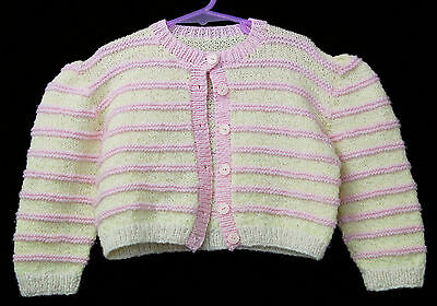 Pink Yellow Toddlers Childs Sz 2 Hand Knit Cardigan Jacket Jumper Sweater Girls