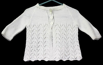Vintage Hand Knit Baby Jacket Bootees Set Acrylic White Infant Sweater 0 1
