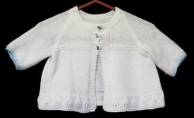 Vintage White Knit Baby Infant Cardigan Jacket Wool Puppy Buttons Sweater Sz O