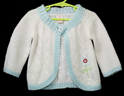 Vintage Pumpkin Patch Baby Cardigan White Sweater Size 1 2 Boys Girls Knit