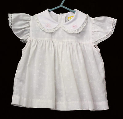Pale Shell Pink Baby Girls Dress Poly Cotton Lightweight Embroidered Collar Sz 1