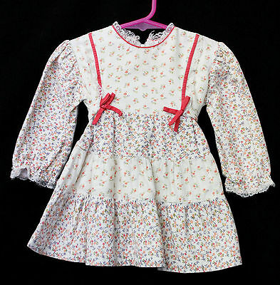 Girls Sz 2 Lightweight Flannel Long Sleeve Winter Floral Dress Vintage Clothing