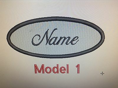 Oval Customized Embroidered Name Tag , Iron On Custom Color
