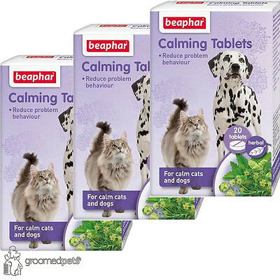3 x Beaphar Herbal Calming Tablets for Dogs & Cats, Reduces Stress, 20 Tablets