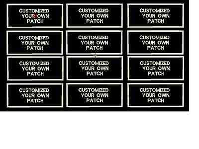 RECTANGULAR CUSTOM EMBROIDERED NAME TAG sew on patch Quality Badge 12 pieces