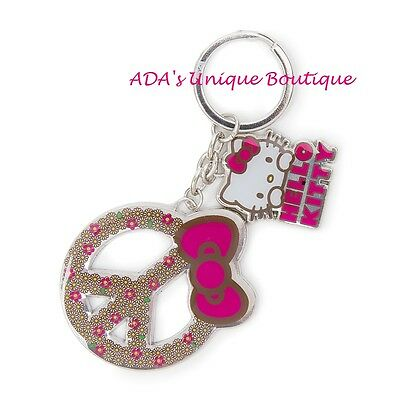Hello Kitty Keychain Daisy Peace Sign Keyring Keys Key Chain Sanrio Loungefly