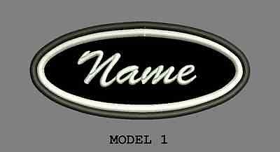 Oval Customized Embroidered Name Tag , Custom Two Frame Colors
