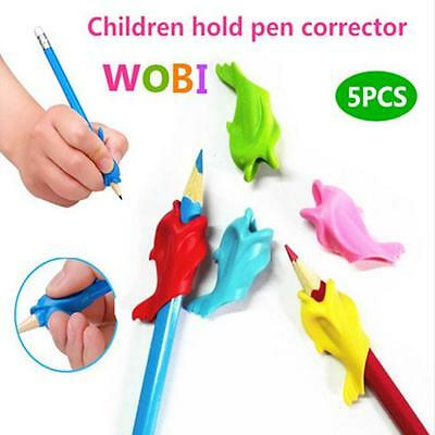 5pcs/set Dolphin Wobi Pencil Holder Writing Pen Posture Correction For Student Y