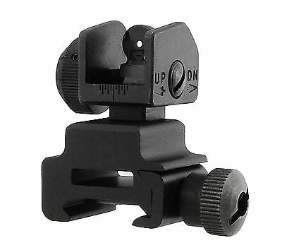 UTG Flip-Up Rear Sight with Windage Adjustment and Dual Aiming Apertures Black