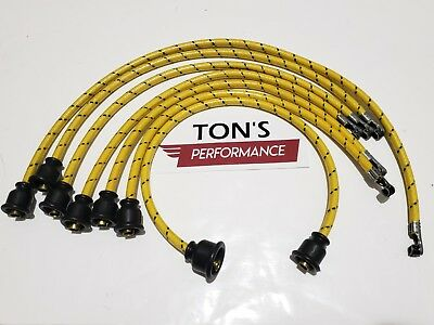 Copper Core Coil 7mm Cloth Covered Spark Plug Wire Set Vintage Wires Inline 6