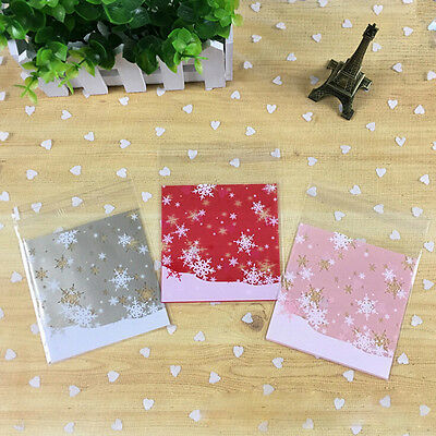100 x Self Adhesive Cookie Candy Package Gift Bag Cellophane Xmas Christmas