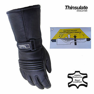 New Motorcycle Thinsulate Waterproof Breathable Leather Biker Gloves Size XS-2XL